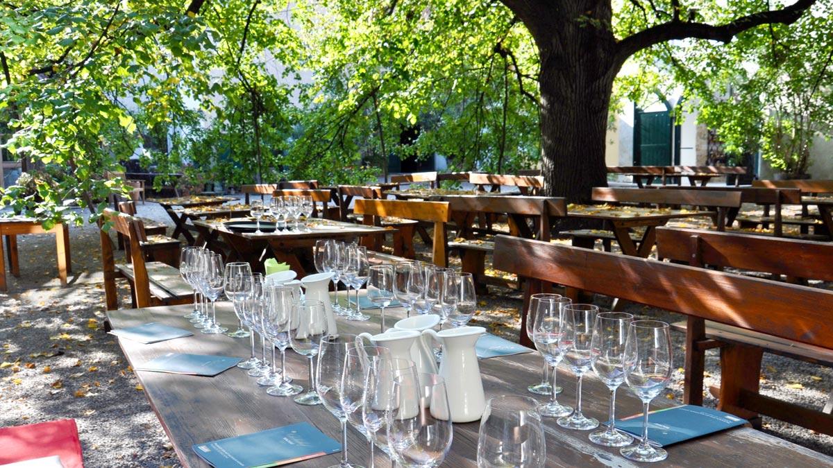 Alles ist für die Weinprobe vorbereitet: Der lauschige Gastgarten im Nikolaihof