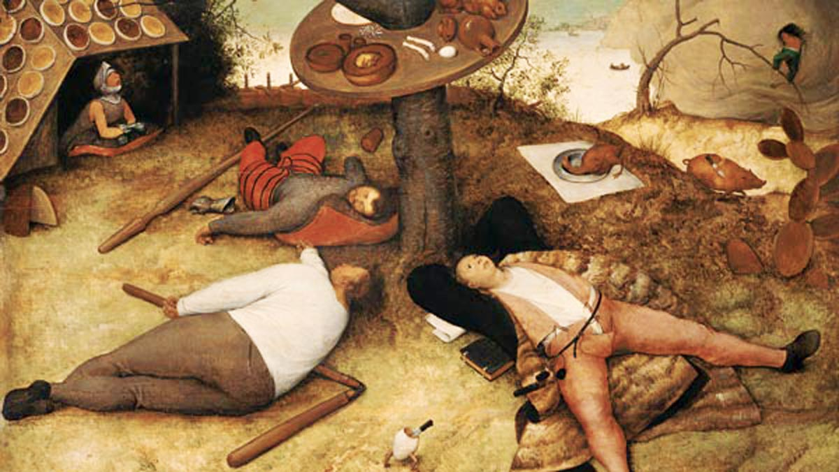 Das Schlaraffenland: Ein Gemälde des holländischen Malers Pieter Bruegel der Ältere. (Hängt in der Alten Pinakothek in München)