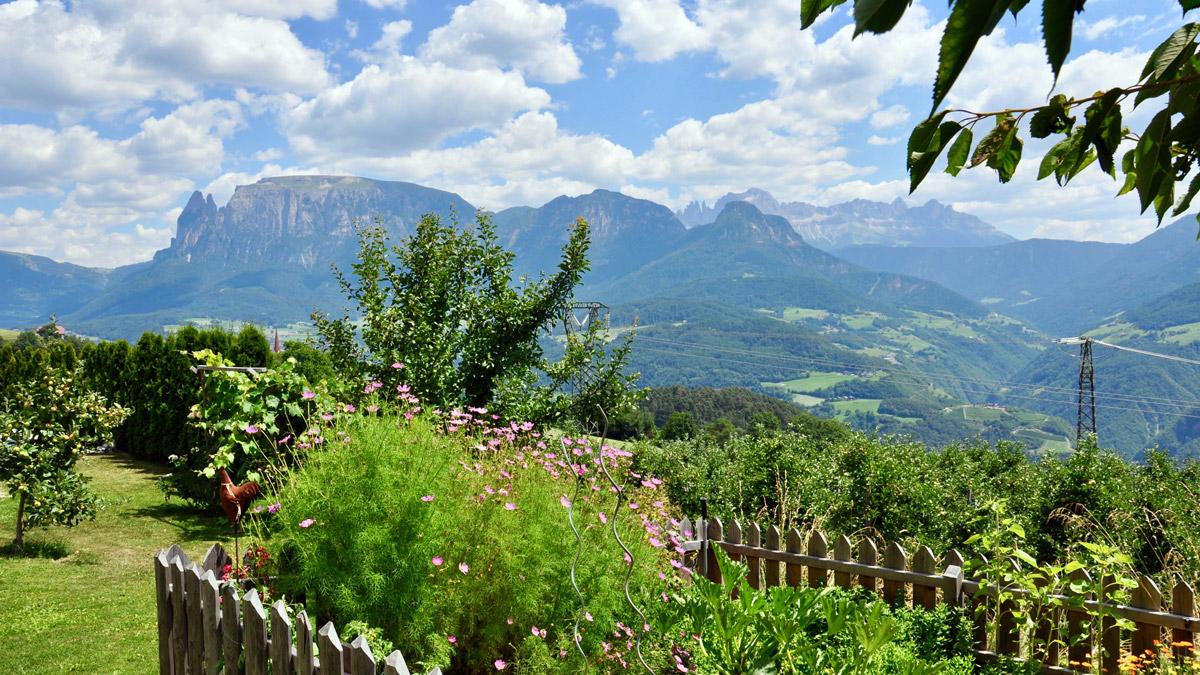 Ein Bauerngarten wie aus dem Bilderbuch.. und halb Südtirol liegt dem Gast zu Füßen. Foto WR