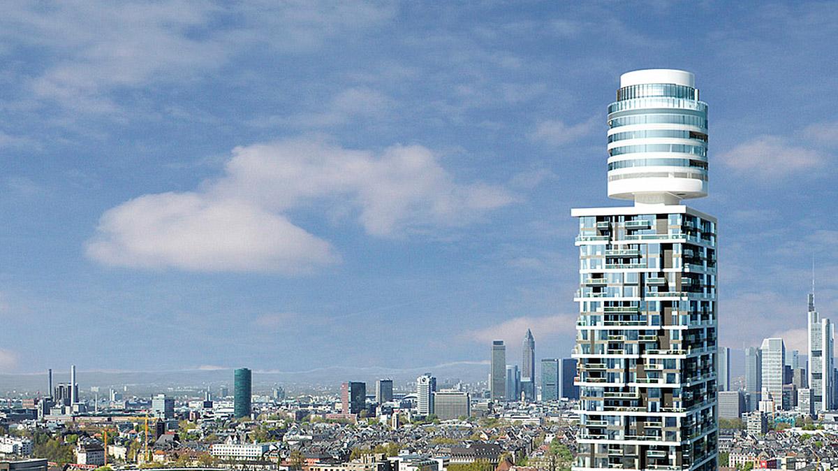 """Der neue Henninger Turm. Im 38. und 39. Stock, im """"Fass"""", befindet sich das Restaurant """"Franziska"""". Foto Mook"""