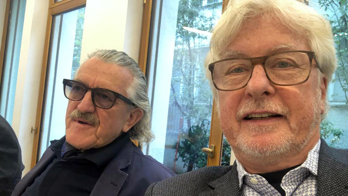 Cello-Legende und Gastronom Dieter Meier (ua. Ojo de Agua links) und GE Chefredakteur Helmut von Finck(rechts). Foto HvF