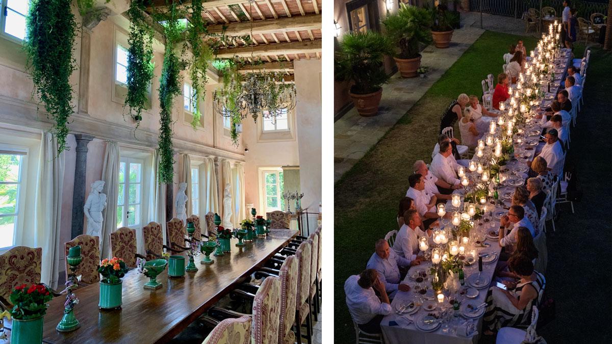 Eine Idee von Wolfgang Reitzle: Nach unten wachsende Pflanzen im Bankettsaal (links). Foto WR Schöner geht es nicht: Dinner im Garten von Santo Stefano (rechts). Foto Massimo Tessandori Bernini