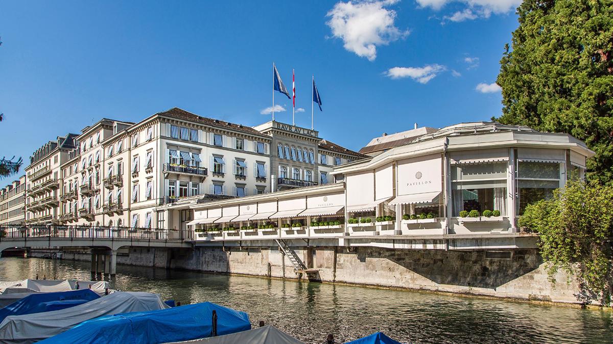 "Das Baur au Lac mi seinem 2-Sterne-Restaurant "" Pavillon"". Foto Baur"