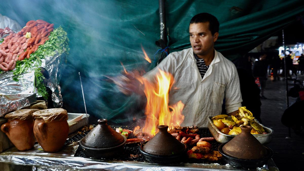 Djemaa el Fna: Fisch und Fleisch vom Grill – auch für europäische Gaumen überraschend gut, Foto WR