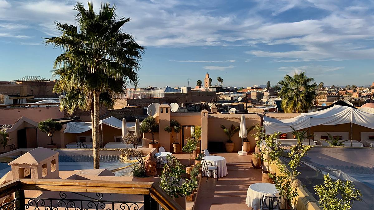Riad el Cadi: Logenplatz auf dem Dach mit Blick über die Medina Foto WR