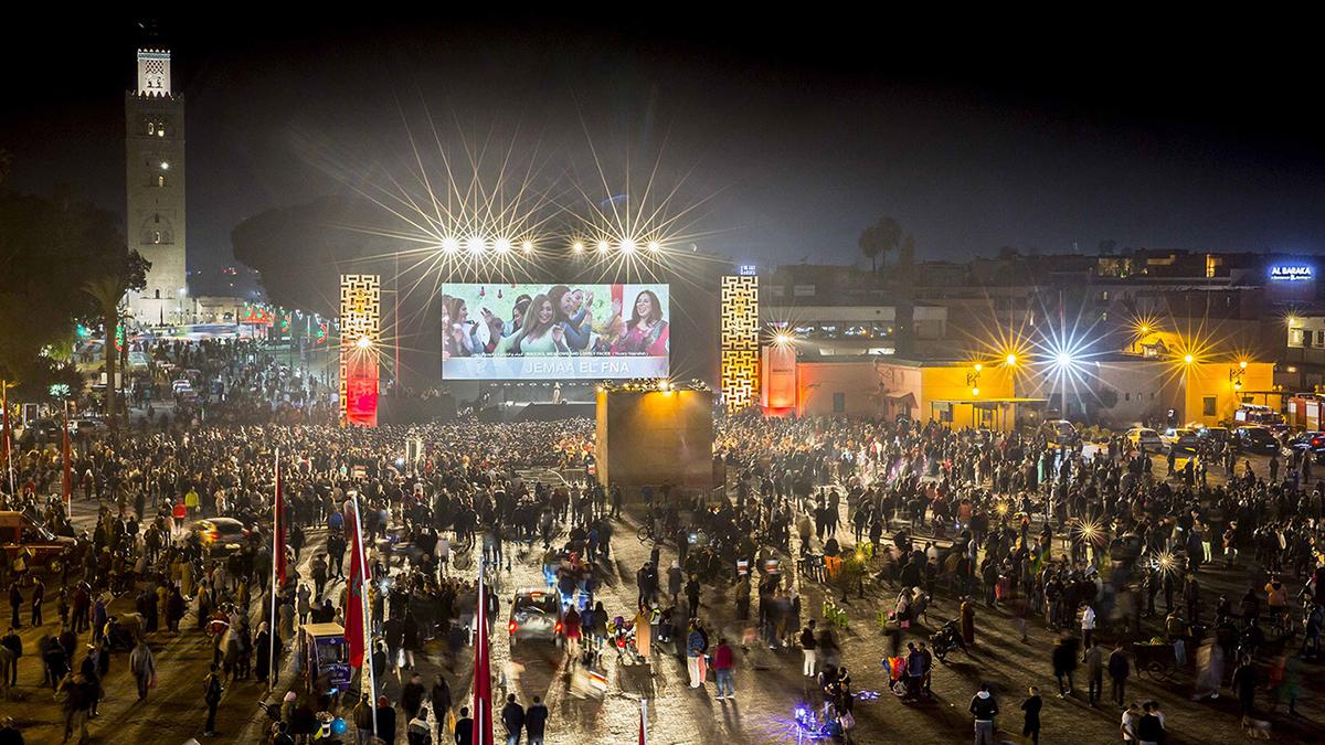 Open Air Kino auf dem Djemaa el Fna während der Filmfestspiele. Foto Sie Elamine