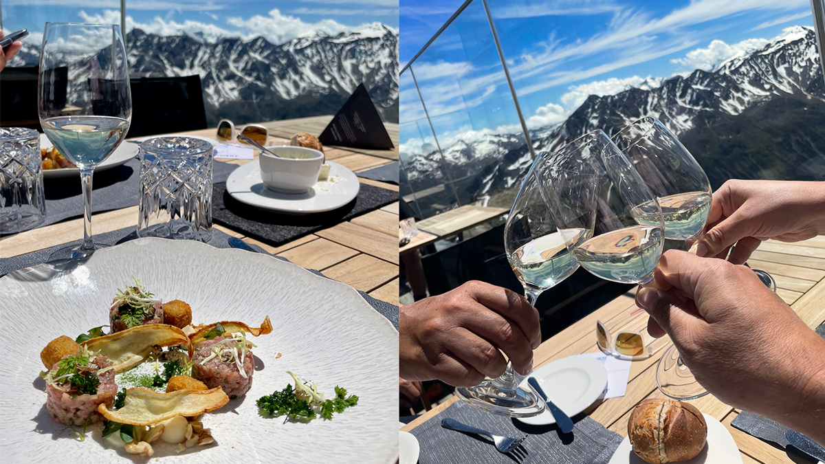 """Weingenuss im Gourmetrestaurant """"ice Q"""" auf 3048 Meter Seehöhe. Fotos Clemens Maas"""